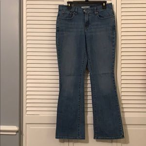 Levi's medium blue denim jeans. 515 Bootcut